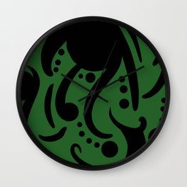 A Moderate Abstraction: Green and Black Wall Clock