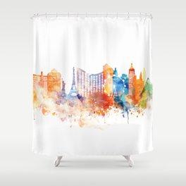 Las Vegas Watercolor Skyline Shower Curtain