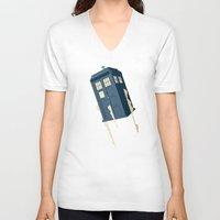 doctor V-neck T-shirts featuring Time to Fly by Danny Haas
