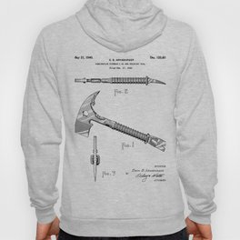 Firemans Axe Patent - Fire Fighter Art - Black And White Hoody