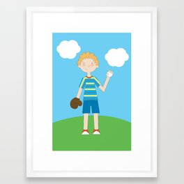 Baseball Boy Framed Art Print