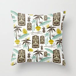 Island Tiki - White Throw Pillow