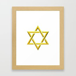Golden 3-D Look Jewish Star of David Framed Art Print