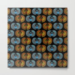 Egyptian Scarab Beetle Pattern - Gold  Blue  and red glass Metal Print