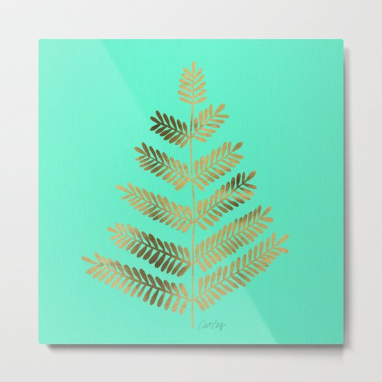 Leaflets – Turquoise & Gold Metal Print