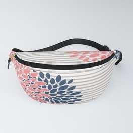 Festive, Floral Prints and Stripes, Line Art Fanny Pack