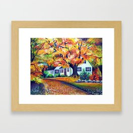 Picturesque Landscape with Vivid Maple Trees Framed Art Print