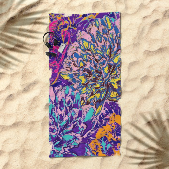 Very colorful abstract flowers Beach Towel