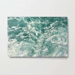 Blue Green Ocean Waves Metal Print