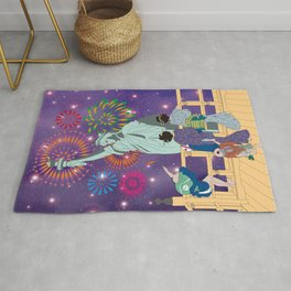 Hokusai People Seeing Statue of Liberty & Fireworks in Universe Rug