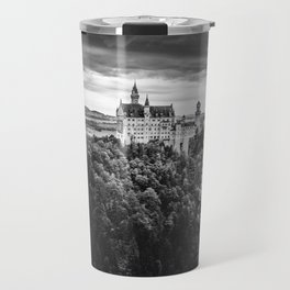 The Castle on the Mountain (Black and White) Travel Mug