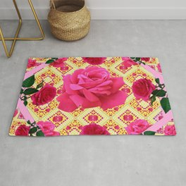 PINK & RED GARDEN ROSES PATTERN PINK ABSTRACT Rug