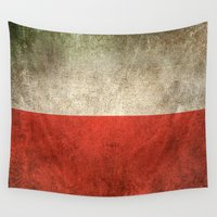 poland Wall Tapestries featuring Old and Worn Distressed Vintage Flag of Poland by Jeff Bartels
