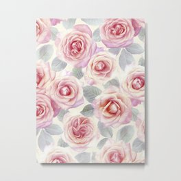 Mauve and Cream Painted Roses Metal Print