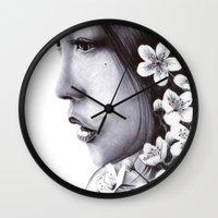 sakura Wall Clocks featuring Sakura by Nester Formentera