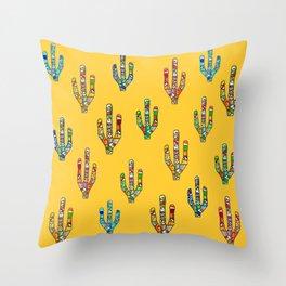 Mosaic Cacti on Yellow Throw Pillow
