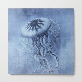 Blue Jellyfish Underwater Magic Metal Print