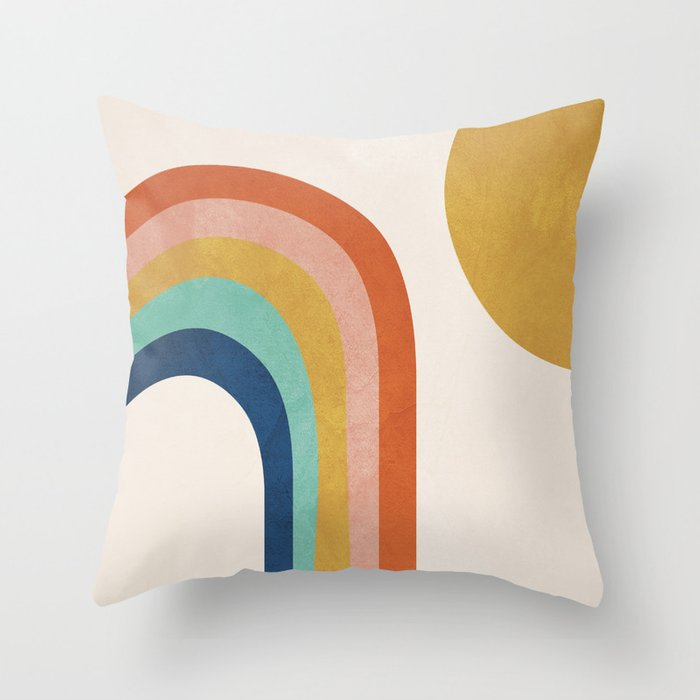The Sun and a Rainbow Throw Pillow