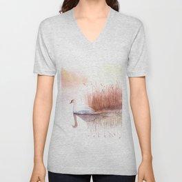 Landscape with a White Swan. Unisex V-Neck