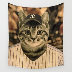 Baseball Cat Wall Tapestry