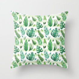 Tropical Palm Tree Leaves Throw Pillow