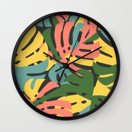 Color Blocked Monstera Leaves - Bold Wall Clock