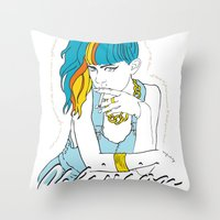 grimes Throw Pillows featuring GRIMES OBLIVION by nufertity