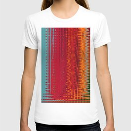 Warm red & turquoise Floor Pattern Art T-shirt