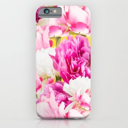 Beauties of nature - large pink flowers on a yellow background #decor #society6 #buyart iPhone Case