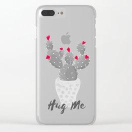 Hug Me Cactus in Pot Hearts Design Clear iPhone Case