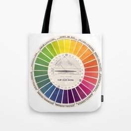Vintage Color Wheel - Art Teaching Tool - Rainbow Mood Chart Tote Bag