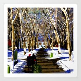 Bryant Park before Christmas Art Print