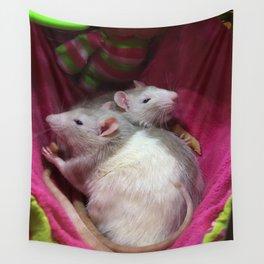 Rats eating pasta Wall Tapestry
