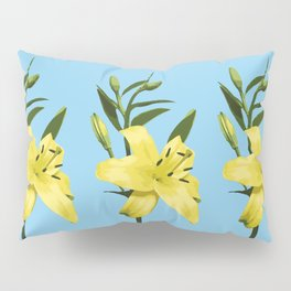 Yellow Lily on Sky Blue Background Illustrated Print Pillow Sham