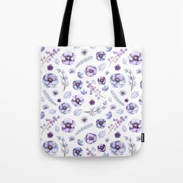 Hand painted lilac violet watercolor bird floral pattern Tote Bag