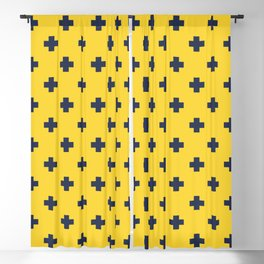 Navy Blue Swiss Cross Pattern on Yellow background Blackout Curtain