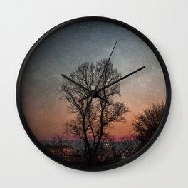 Starry Norwegian winter night Wall Clock
