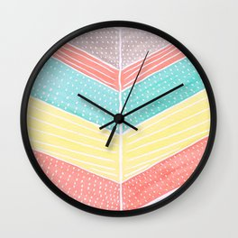 Chevron Arrow Tail Watercolor Multicolor Wall Clock