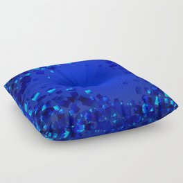 Sea explosive pattern of rhombuses and squares at the depth of the blue ocean. Floor Pillow