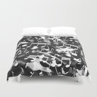 music notes Duvet Covers featuring MUSIC NOTES  by raspaintings