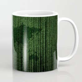 World Map Matrix Code Data Networking Espionage Web Green Coffee Mug