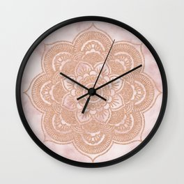 Rose gold mandala - pink marble Wall Clock