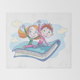 Flying Book Throw Blanket