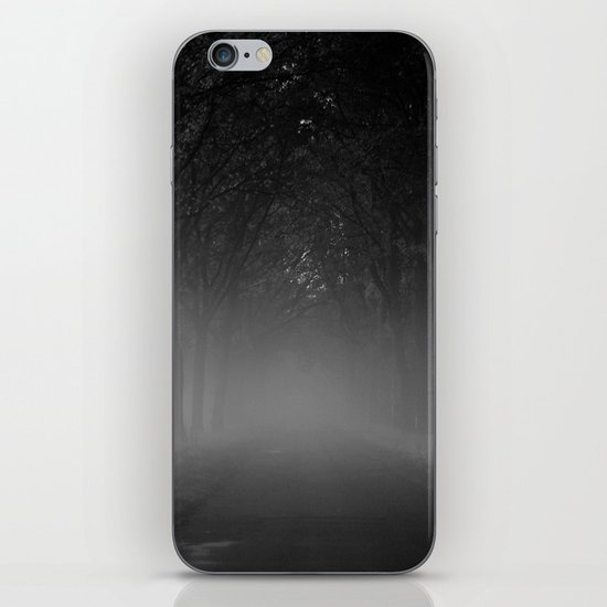 Avenue of trees in the fog white black iPhone & iPod Skin
