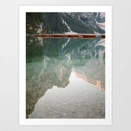 Mirror on the water | Lago di Braies Italy | Dolomites travel photography Art Print
