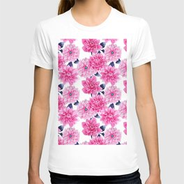 Blush pink hand painted watercolor modern floral pattern T-shirt