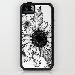 Bouquet of Flowers with Sunflower / Fall floral lineart iPhone Case