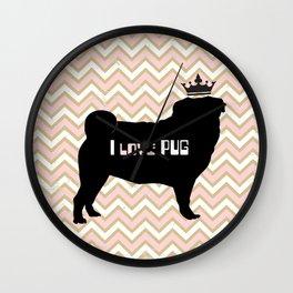 I love Pug-Pink Dog illustration original painting print Wall Clock