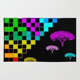 little colored squares and trees Rug