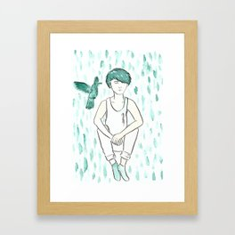 Green Hummingbird Framed Art Print
